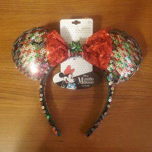 NWT Minnie Mouse Ears Christmas
